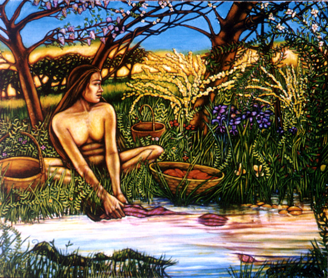 "Woman and Spring #1 (2003, 65"" x 55"") $1,800 (Available for Loan)"