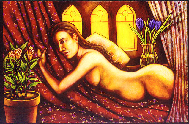 """Reclining Nude (2004, 54"""" x 35"""") Sold"""