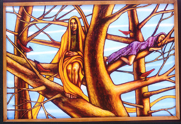"Women in the Trees (2004, 37"" x 25"") Sold"
