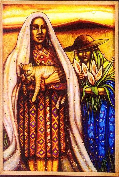 """Two Women with Cat (2004, 25"""" x 37"""") $700"""