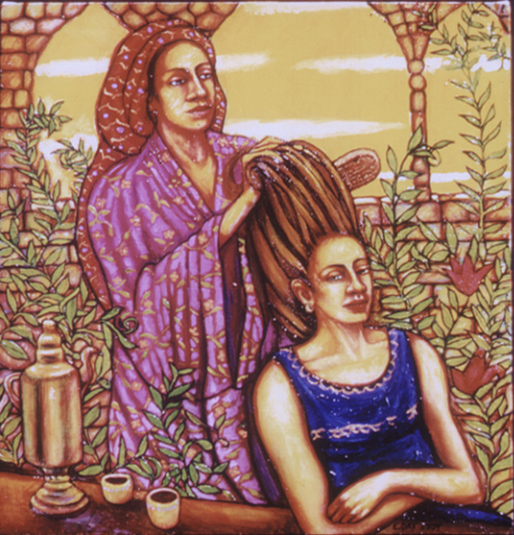 "The Hairbrushing (2004, 25"" x 24"") Sold"