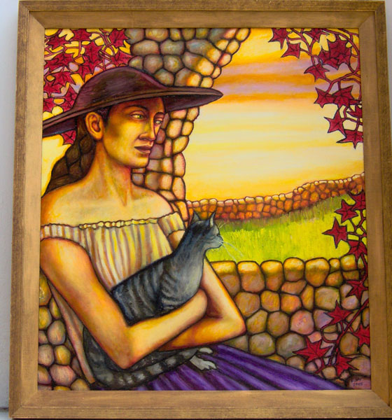 """Girl in Hat with Cat (2005, 28"""" x 24"""") Sold"""