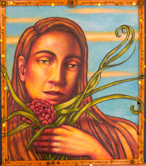 """Girl with Red Flower (2005, 14.5"""" x 17"""") Sold"""