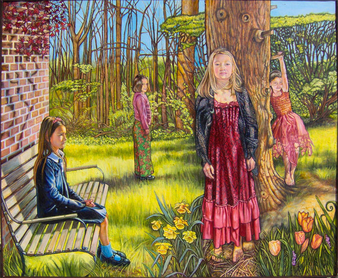 """The Four Friends (2005, 70"""" x 60"""") Sold"""