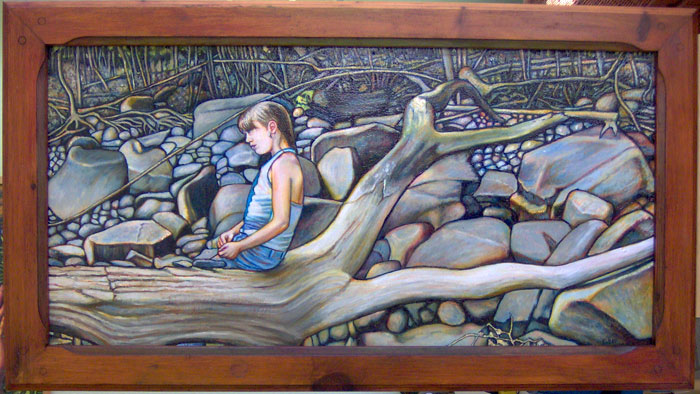 "The Girl and the Rocks (2005, 39"" x 19"") Sold"