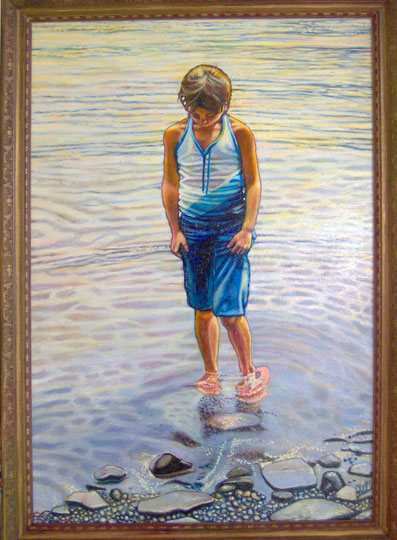 "Wading in the Lake (2005, 24"" x 35"") Sold"