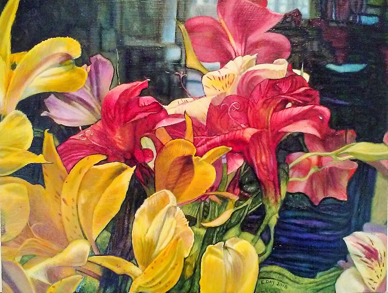 Alstroemeria #2 (2015, 16 x 12 in, oil on masonite) SOLD