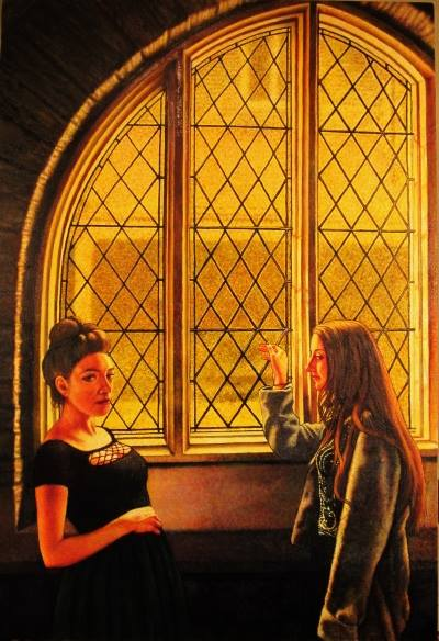 "Two Women By The Window (2014, 32"" x 48, oil on canvas"") $2,500 (Available for loan)"
