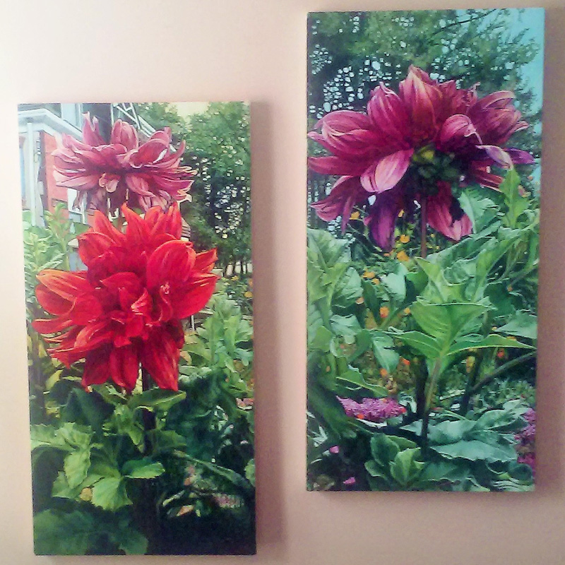 Dahlia #1 and #2 (2015, oil on canvas) SOLD