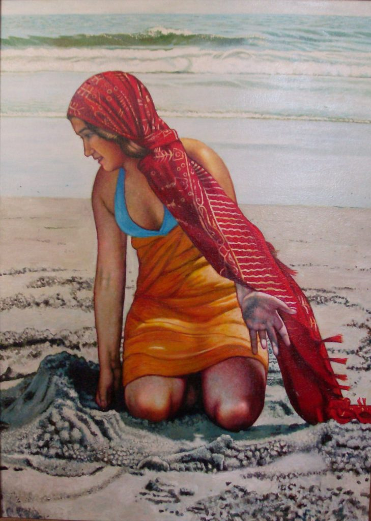 "Digging In The Sand (2009, 40"" x 30"") Sold"
