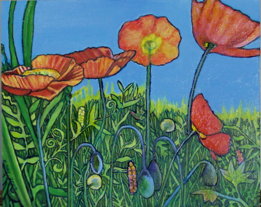 "Poppies (2009, 10"" x 8"", oil on masonite) Sold"