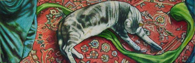 """Sleeping Tabby (2009, 24"""" x 8"""") Sold"""