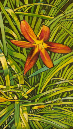 "Tiger Lily (2009, 8"" x 13"", oil on masonite) Sold"