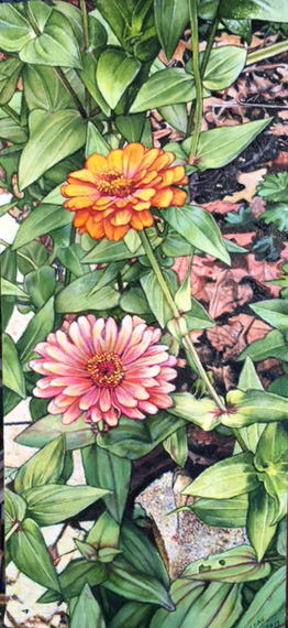 """Zinnias"", 2017, oil on canvas, 9""x20"", SOLD"