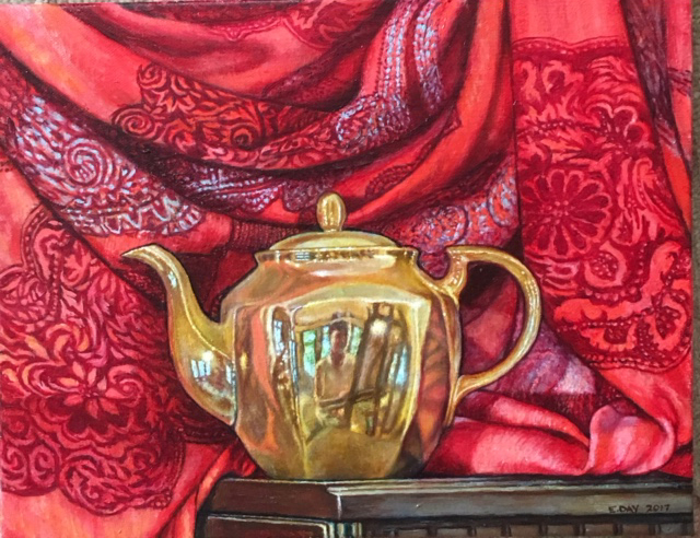 "Teapot #2, oil on canvas, 11""x14"", 2017 SOLD"