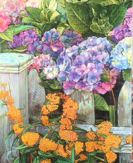 "Cape May Hydrangeas, 16""x20"", oil on canvas, $950.00"