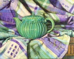 "Teapot #4, oil on canvas, 11""x14"", 2018, $700.00"