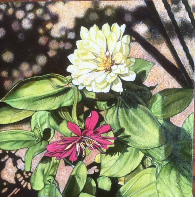 Zinnias, 2018, 12 x 12 inches, oil on canvas, $750.00
