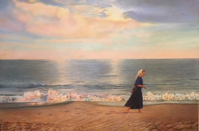 """A Walk on the Beach"", oil on canvas, 31"" x 46"", 2018  SOLD"