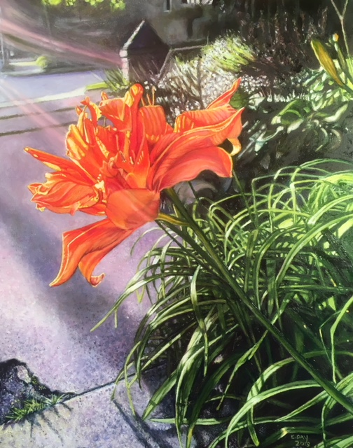 "Orange Lily, oil on canvas, 16""x20"", SOLD"