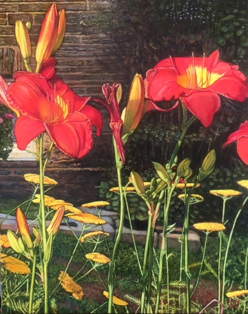 "Red Lilies, oil on canvas, 16"" x 20"", 2018, $1,200.00"