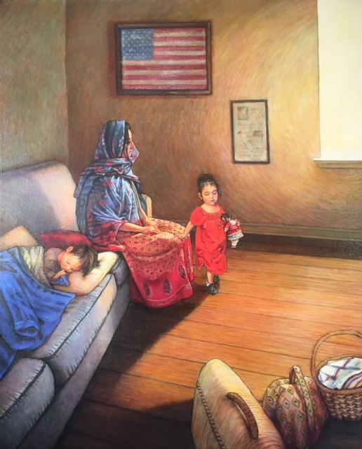 "No Asylum Here, oil on canvas, 2018. SOLD. Poster: 24""x36"" for $75.00 unframed and $100.00 framed; 18""x24"" for $50.00 unframed, $75.00 framed; giclée print on archival paper: $260.00 unframed  $300.00 framed."