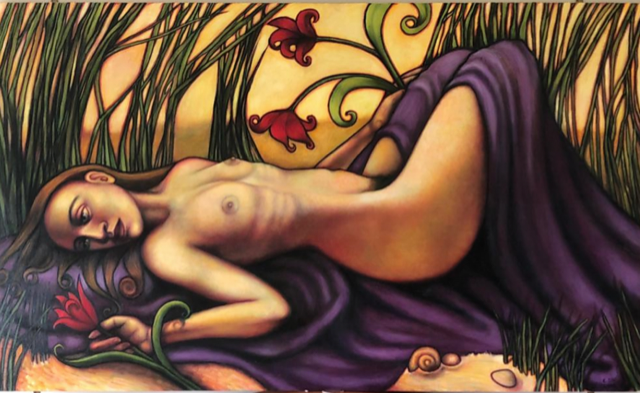 "Ophelia, 2000, oil on canvas, 36""x60"", $1,700"