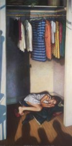 "A Child's Brief Refuge, 24""x48"", oil on canvas, $2,900.00"
