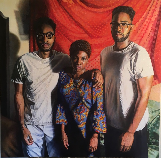 """Mother and Sons"", 38""x36"", oil on canvas $4,500.00 (A percentage of the proceeds will go towards the boys' college tuition.)"