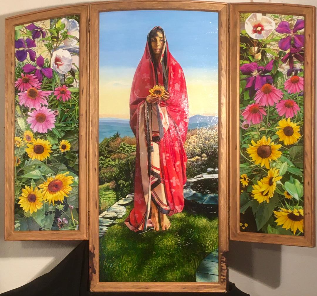 "Compassion: Tryptic, 42""  x44"", oil on masonite panels, set in an old dresser mirror frame. SOLD"