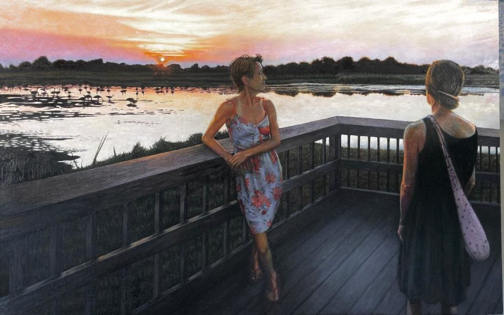 "Dying Sunset, Cape May, 33""x 48"", oil on canvas , $3,600.00"