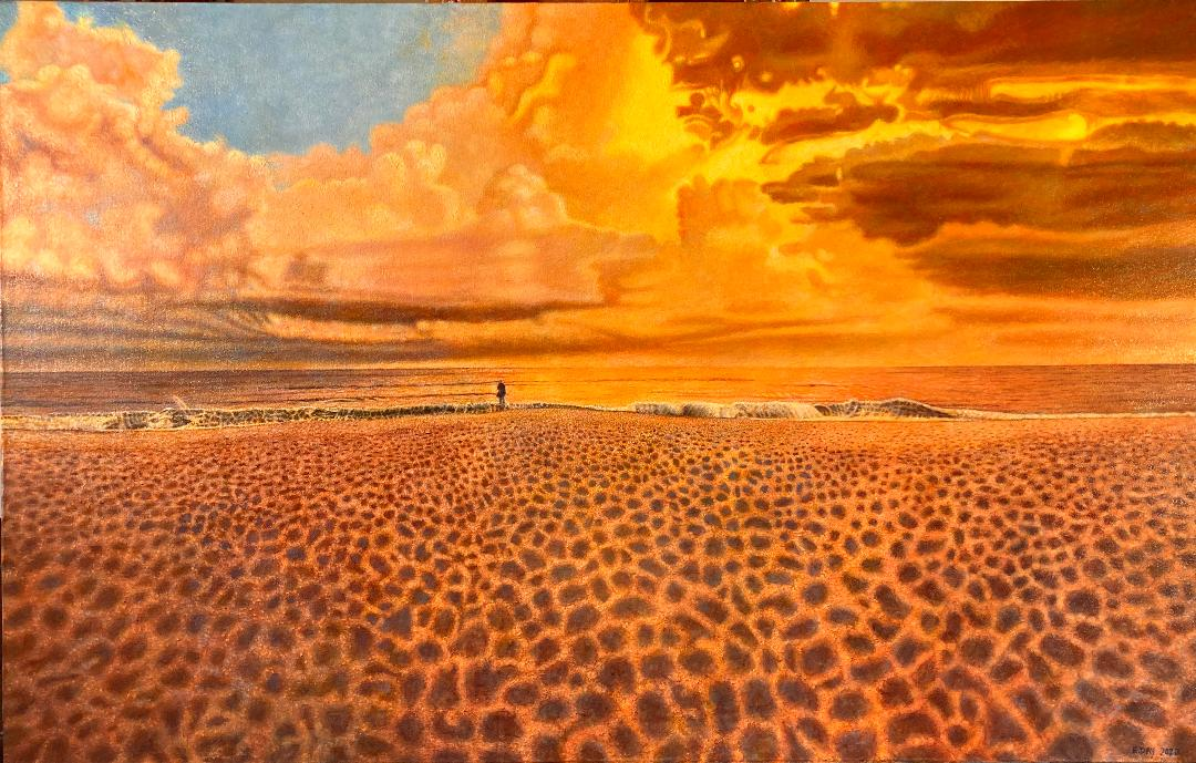 Solitude Sunset, 2020, 29 x 46 inches, oil on canvas, $2,500